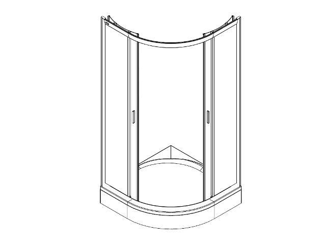 Kabina prysznicowa półokrągła FRESH SOFT 80cm szkło hart. w paski, DKPG80211001 Koło