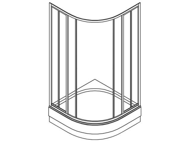 Kabina prysznicowa półokrągła ATOL PLUS 90cm szkło hartowane ze wzorem CREPI EKPG90202000 Koło