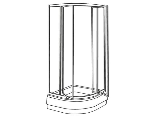 Kabina prysznicowa półokrągła AKORD SWING 80cm szkło hart. ze wzorem CREPI RKPF80202000 Koło