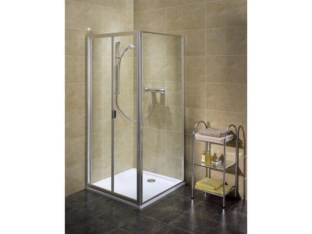 Drzwi prysznicowe AKORD BIFOLD 80 profil srebrny półmat, szkło hartowane RDRB80222005 Koło