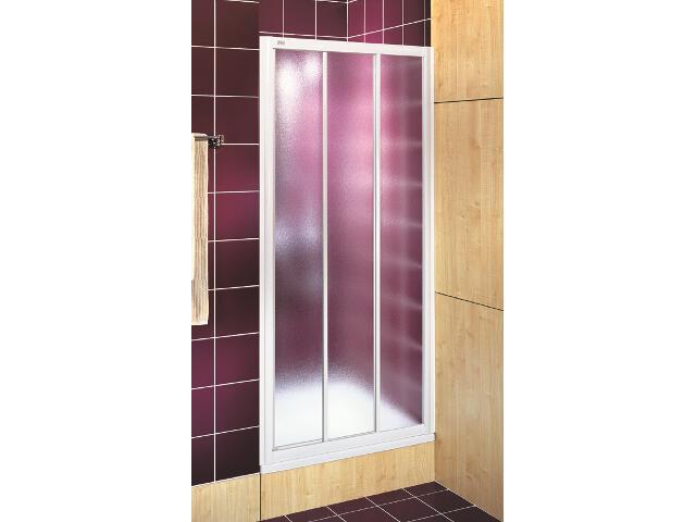 Drzwi prysznicowe AKORD rozsuwane 90cm szkło hartowane ze wzorem CREPI biały RDRS90202000 Koło