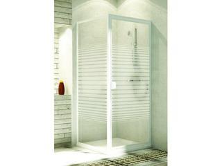 Ścianka prysznicowa boczna ELBA 80 profil biały, szkło wzór paski 103-26574 Aquaform