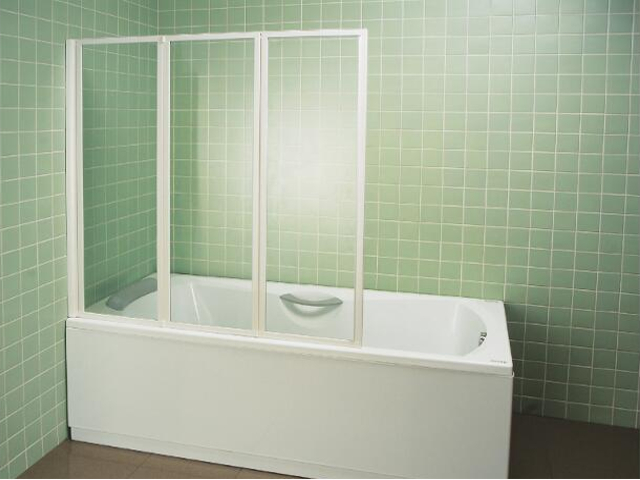 Parawan nawannowy VS3 profil biały, szkło transparentne 795L0100Z1 Ravak