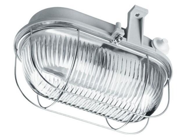Plafon przemysłowy hermetyczny OVAL 100W E27 230V szary klosz przezroczysty Lena Lighting