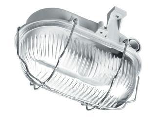 Plafon przemysłowy hermetyczny OVAL 60W E27 230V SIMETAL z rozkładaną siatką szary Lena Lighting