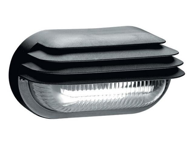 Oprawa podjazdowa OVAL 1x60W E27 z przesłoną klosz przezroczysty czarna Lena Lighting