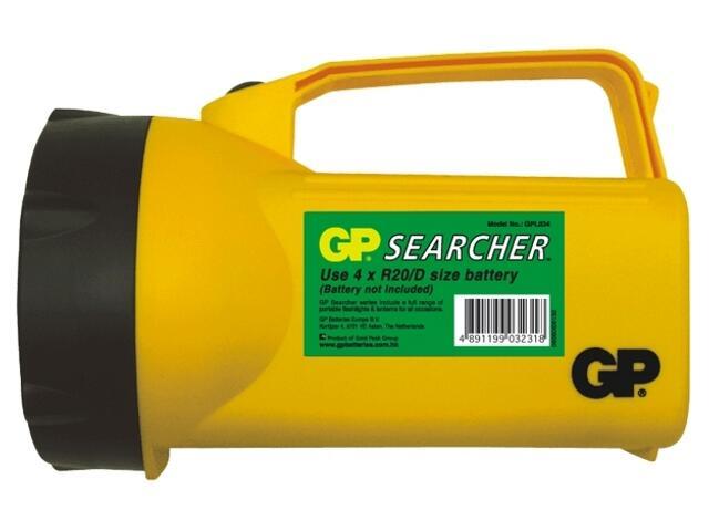 Latarka ręczna z tworzywa; żarówka standardowa; 4xD shrink GP Battery