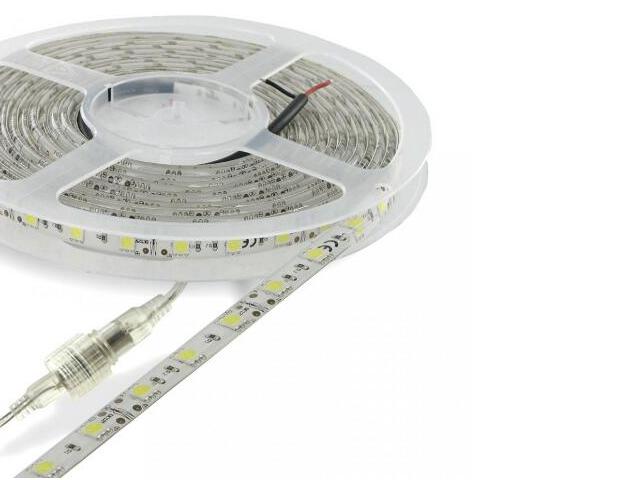 Taśma LED jednokolorowa SMD5050 5m 60szt/m 12W/m 12V IP67 wodoodporna chłodna barwa Whitenergy