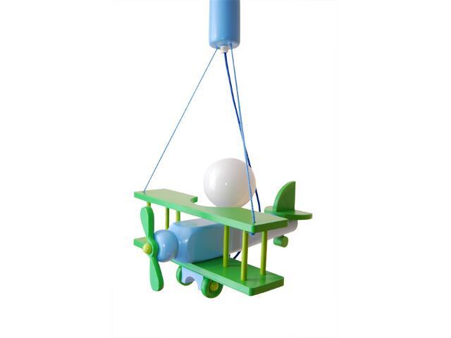 Lampa sufitowa dziecięca Samolot mały 010105 zielono-niebieska Klik