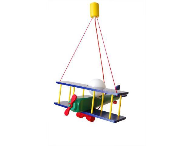 Lampa sufitowa dziecięca Samolot duży 010202 granatowo-zielona Klik