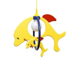 Lampa sufitowa dziecięca Delfin 1 duży 1 mały 020208 żółto-granatowa Klik
