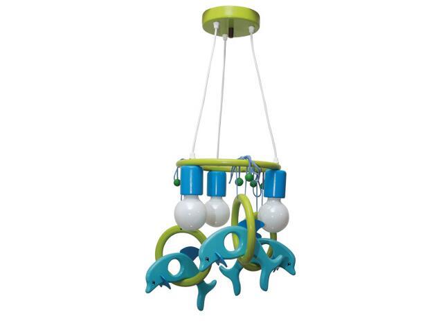 Lampa sufitowa dziecięca Delfin 3 flg 011304 turkusowo-zielona Klik
