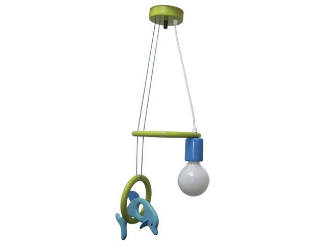Lampa sufitowa dziecięca Delfin 1 flg 011104 turkusowo-zielona Klik