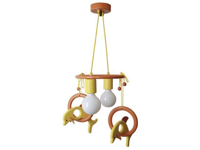 Lampa sufitowa dziecięca Delfin 2 flg 011202 pomarańczowo-żółta Klik