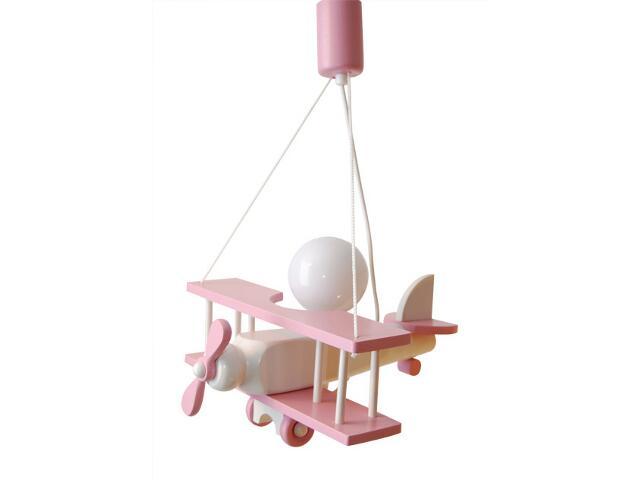 Lampa sufitowa dziecięca Samolot mały 010106 różowo-biała Klik
