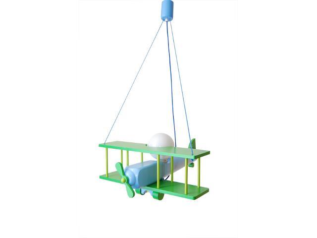 Lampa sufitowa dziecięca Samolot duży 010205 zielono-niebieska Klik