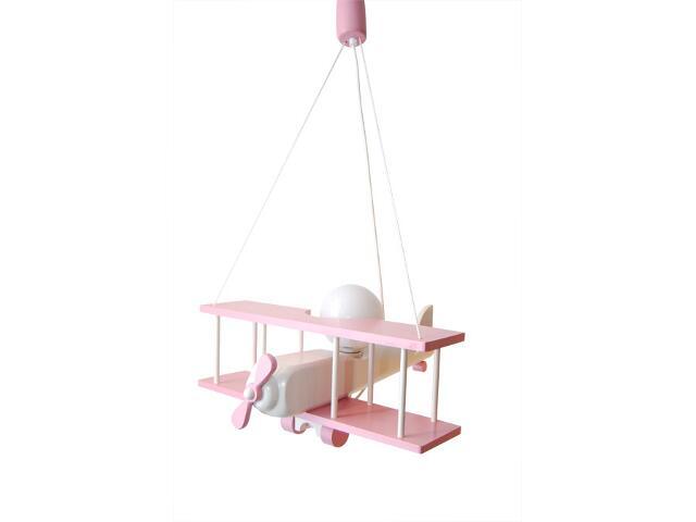 Lampa sufitowa dziecięca Samolot duży 010206 różowo-biała Klik