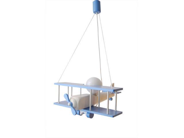 Lampa sufitowa dziecięca Samolot duży 010207 niebiesko-biała Klik