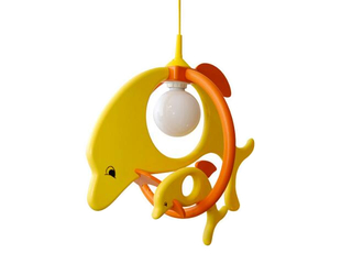 Lampa sufitowa dziecięca Delfin 1 duży 1 mały 020201 żółto-pomarańczowa Klik
