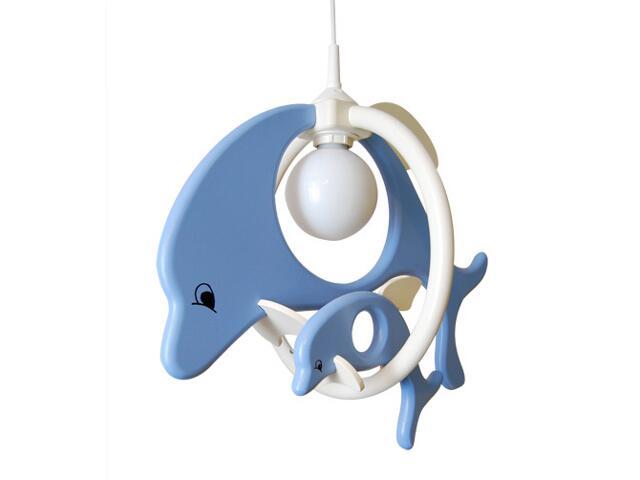 Lampa sufitowa dziecięca Delfin 1 duży i 1mały 020206 niebiesko-biała Klik