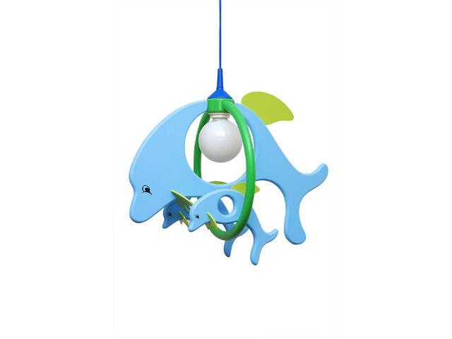Lampa sufitowa dziecięca Delfin 1 duży 2 mały 020303 niebiesko-zielona Klik