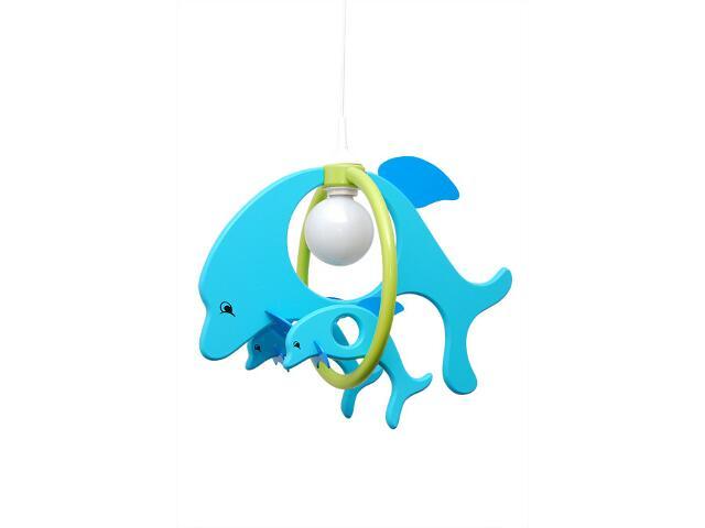 Lampa sufitowa dziecięca Delfin 1 duży 2 mały 020307 turkusowo-zielona Klik