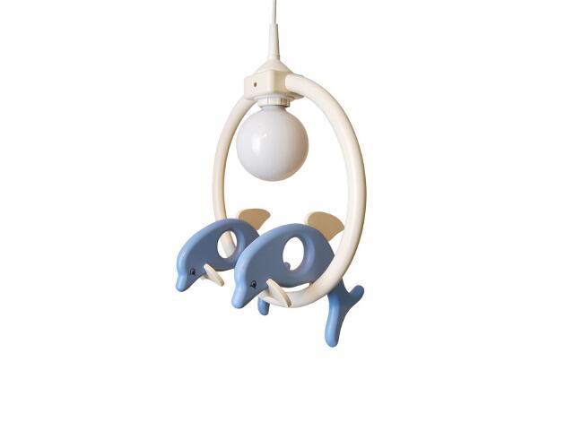 Lampa sufitowa dziecięca Delfin 2 małe 020406 biało-niebieska Klik