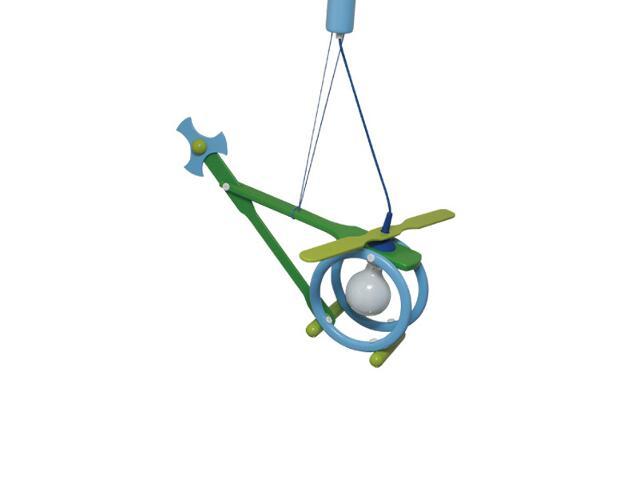 Lampa sufitowa dziecięca Helikopter E27 020602 zielono-niebieska Klik