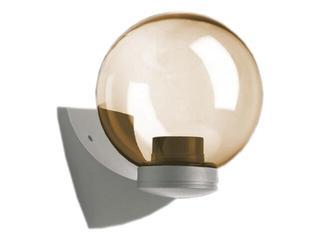 Kinkiet ogrodowy ASTER PLUS 60W E27 klosz bursztynowy 20cm srebrny Sanneli Design