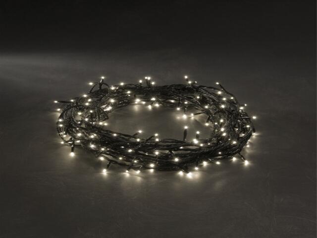 Lampka choinkowa zewnętrzna FROSTED LED 2m diody ciepłe białe kabel czarny120szt MK Ilumination