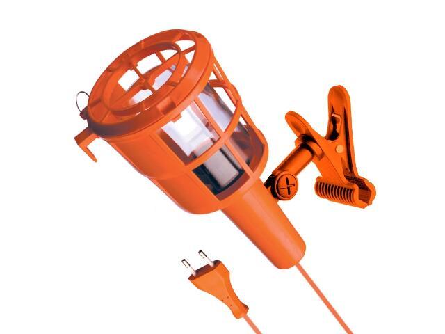 Lampa warsztatowa z kablem PLASTIC Z KLIPSEM 60W E27 230V pomarańczowa Lena Lighting