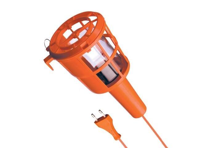Lampa warsztatowa z kablem PLASTIC 60W E27 230V przewód 10m pomarańczowa Lena Lighting