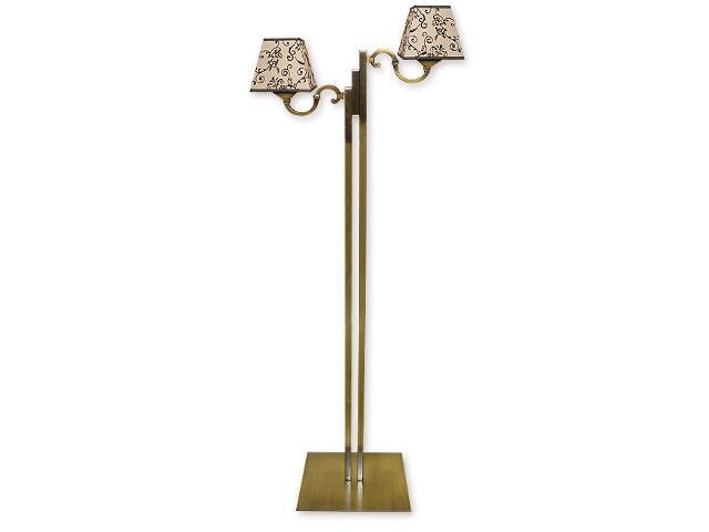 Lampa podłogowa Kade Abażur 2-płomienna patyna O1049/L2 Lemir