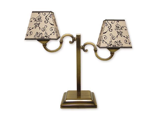 Lampa stołowa Kade Abażur 2-płomienna patyna O1048/L2 Lemir