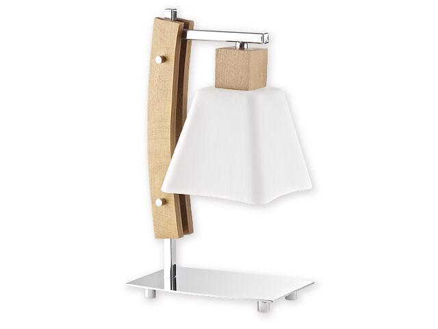 Lampa stołowa Dreno 1-płomienna chrom dąb O1478 DB Lemir