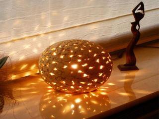 Lampa stołowa KULA 220mm jasny szamot ażurowy 1704 Cleoni