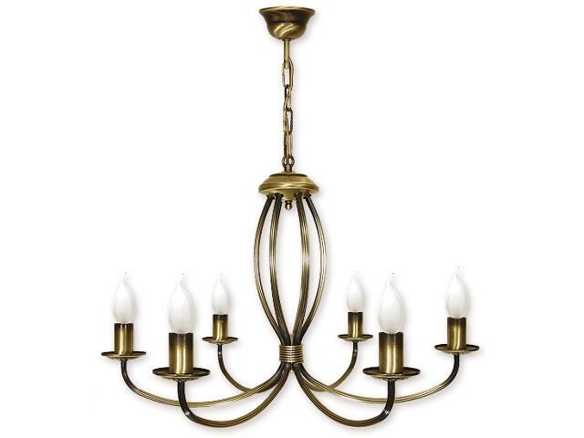 Lampa wisząca Korona 6-płomienna patyna 396/W6 Lemir