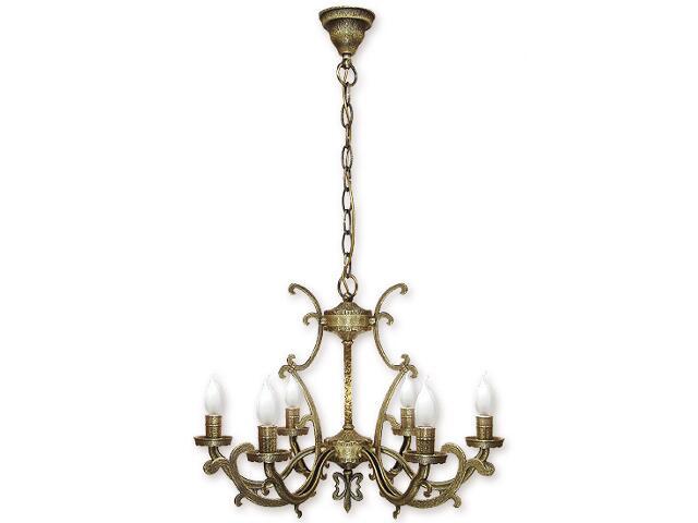 Lampa wisząca Miron 6-płomienna patyna 686/W6 Lemir