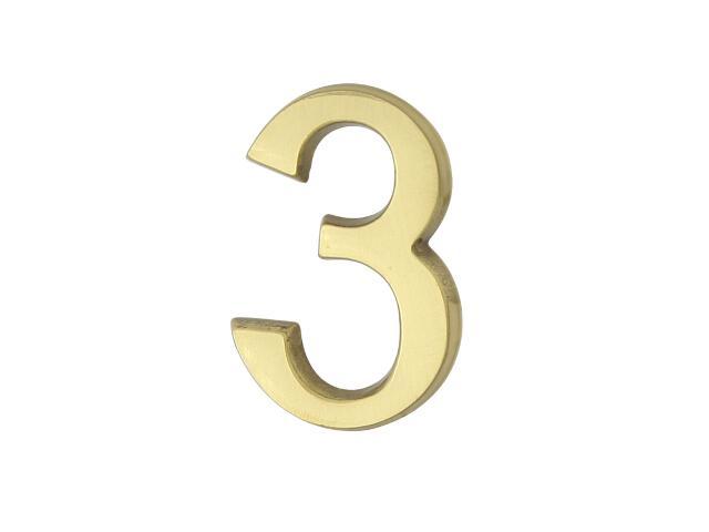 """Cyfra """"3"""" złota 50mm Domino"""