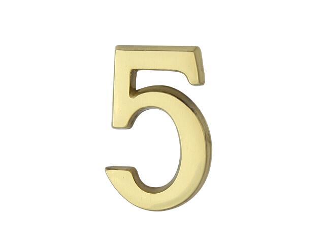 """Cyfra """"5"""" złota 50mm Domino"""