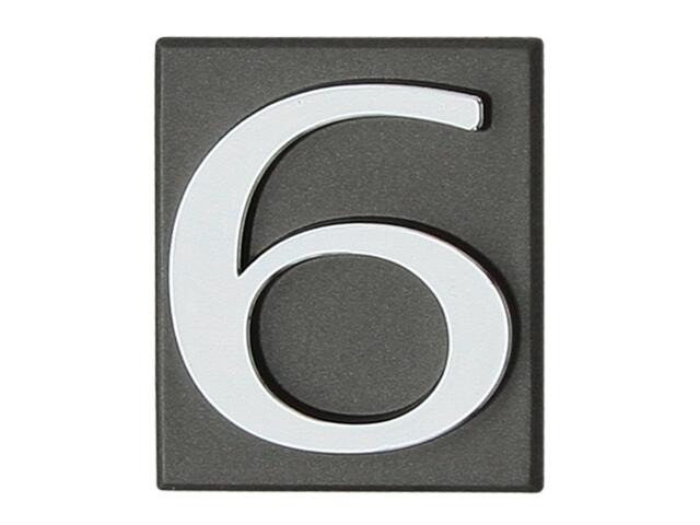 "Cyfra ""6"" grafit 40x45mm Domino"
