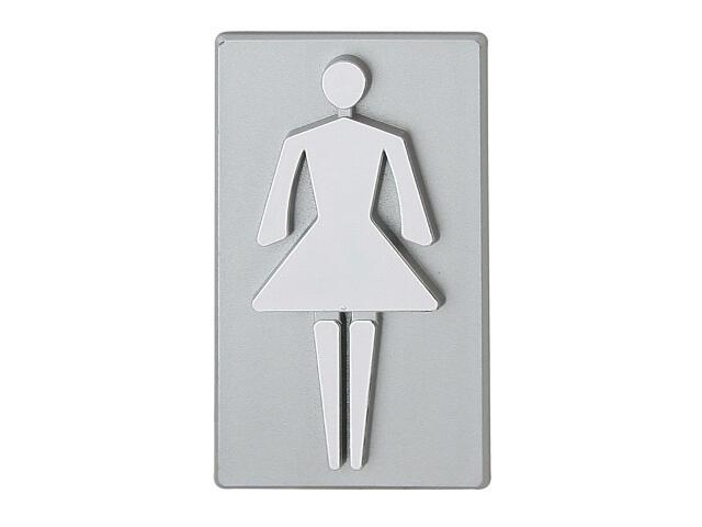 """Oznaczenie WC srebrne """"kobieta"""" 45x50mm Domino"""