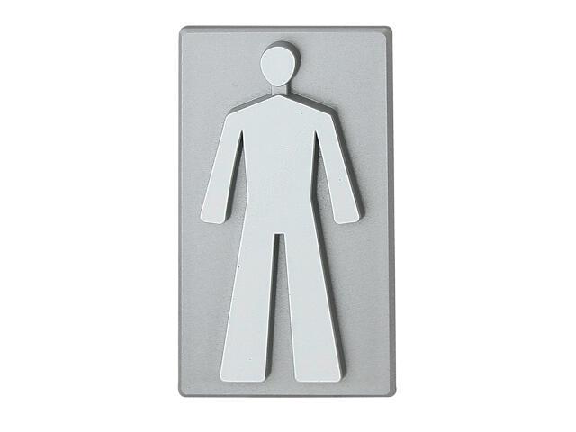 """Oznaczenie WC srebrne """"mężczyzna"""" 45x50mm Domino"""
