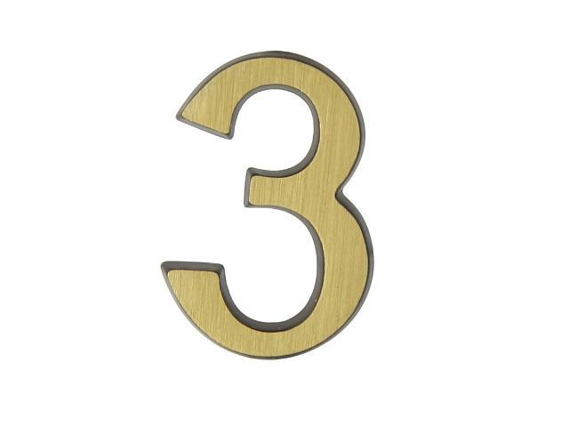"""Cyfra """"3"""" mosiądz patyna 50mm Domino"""