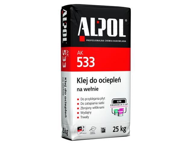Zaprawa klejowa do ociepleń na wełnie AK533 25kg Alpol