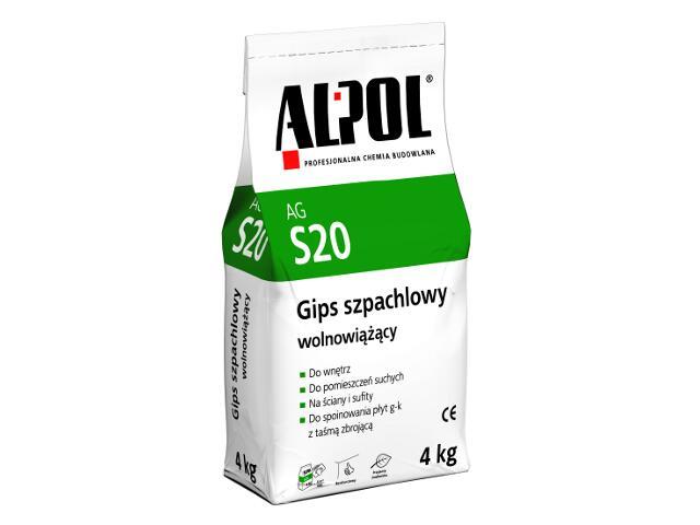 Gips szpachlowy wolnowiążący AGS20 4kg Alpol
