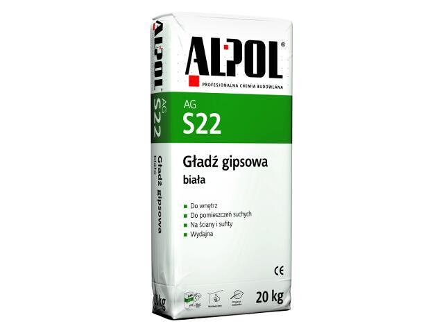 Gładź gipsowa biała AGS22 20kg Alpol