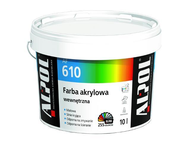 Farba elewacyjna akrylowa wewnętrzna AF610 10l biała Alpol