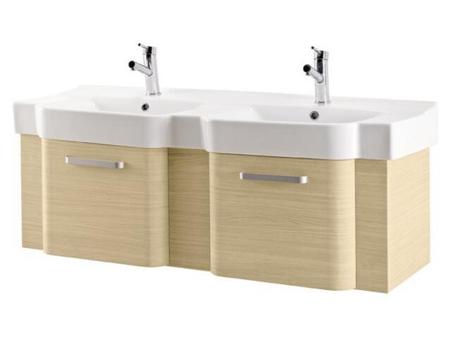 Zestaw szafka VIRTUS jasny dąb (S523-007) z umywalką podwójną DECO 130(K12-008)