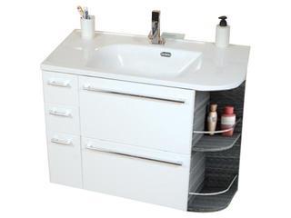 Szafka podumywalkowa SDZU PRAKTIK S lewa z szufladą i koszem biały/strip onyx X000000322 Ravak